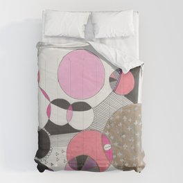 gold black + pink bubbles Comforters