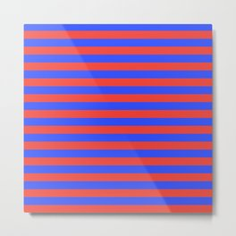 Even Horizontal Stripes, Blue and Red, M Metal Print