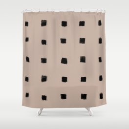 Polka Strokes Gapped - Black on Nude Shower Curtain