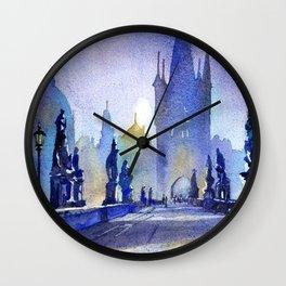 Charles Bridge in medieval city of Prague- Czech Republic.  Painte Wall Clock