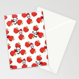 Pandas and Apples Stationery Cards