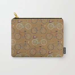 Holiday Bicycles on brown paper Carry-All Pouch