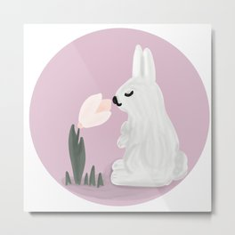 Cute bunny with flower  Metal Print