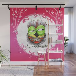 THe HaPpy iN loVE nOSTAlgic, sAD owLs  Wall Mural