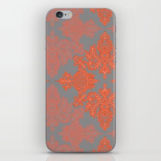 Burnt Orange, Coral & Grey doodle pattern iPhone & iPod Skin