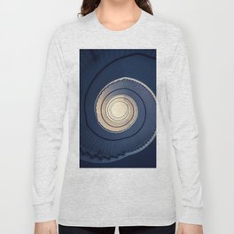 Spiral staircase in ark blue and sand tones Long Sleeve T-shirt