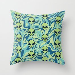 Melting Alien Throw Pillow