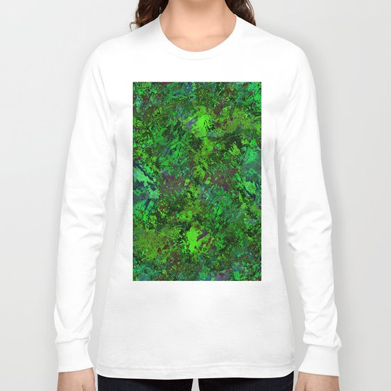 Lost In The Jungle - Abstract, green, jungle, foliage, leaves, forest themed artwork Long Sleeve T-shirt