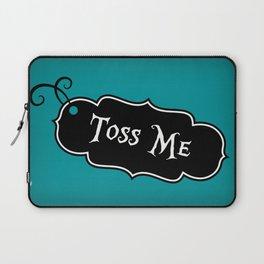 """Toss Me"" Alice in Wonderland styled Bottle Tag Design in 'Alice Blue' Laptop Sleeve"