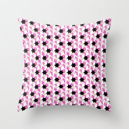 Pink and White Pattern with Gray and Black Stars Fractal Art Throw Pillow
