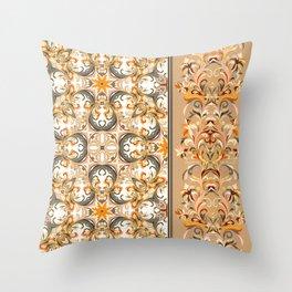 Boho Floral Fantasy Pattern Throw Pillow