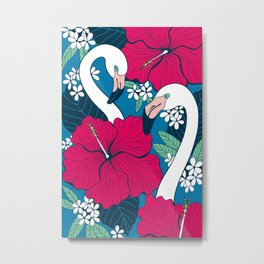 Flamingos and tropical flowers and leaves Metal Print