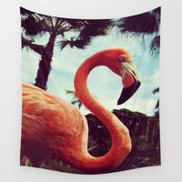 flamingos Wall Tapestries featuring Flamingos by octopusiscool