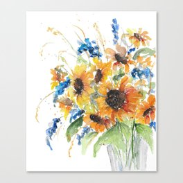 Watercolor sunflower bouquet Canvas Print