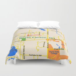 Map of North Canton, OH Duvet Cover