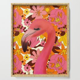 Flamingo with Retro Nz Floral Serving Tray