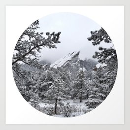 Boulder Colorado Flatirons In Snow Art Print