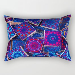 V9 Traditional Special Moroccan Colored Blue Stones - A2 Rectangular Pillow