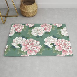 Japanese Vintage Pink Peonies Green Leaves Kimono Pattern Rug
