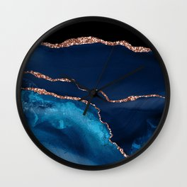 Blue Indigo And Rose Gold Glitter Marble Agate Wall Clock