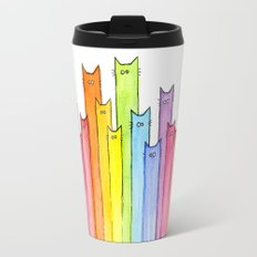 Cat Rainbow Watercolor Whimsical Animals Cats Pattern Travel Mug