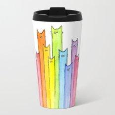 Cat Rainbow Watercolor Pattern Travel Mug
