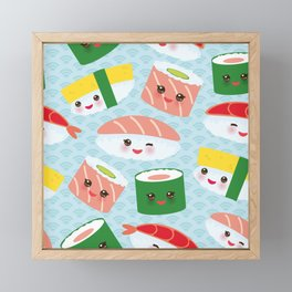 pattern Kawaii funny sushi rolls set with pink cheeks and big eyes, emoji Framed Mini Art Print
