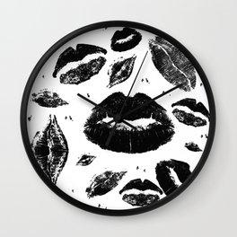 Kisses All Over (Black & White) Wall Clock