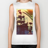 pirate ship Biker Tanks featuring pirate ship by Ancello
