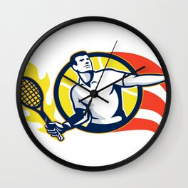 Tennis Player Flaming Racquet Ball Retro Wall Clock