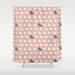 Proud cat pattern Pink Shower Curtain