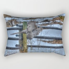Dive, Dive, Dive! - Great Grey Owl Hunting Rectangular Pillow