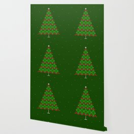 Fair isle knitted Christmas tree and snow Wallpaper