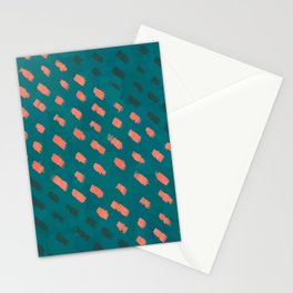 Minimalist Orange Painted Dots Rain on Dark Teal Green Color Pattern, Modern Abstract Painting Stationery Cards