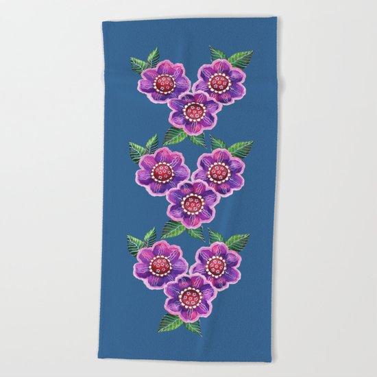 Purple Flowers I Beach Towel