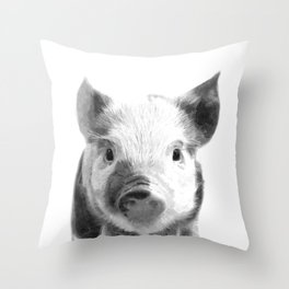 Black and white pig portrait Throw Pillow