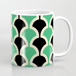 Classic Fan or Scallop Pattern 447 Black and Green Coffee Mug