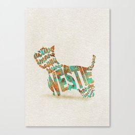 West Highland White Terrier Typography Art / Watercolor Painting Canvas Print