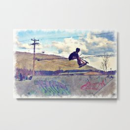 Graffitti Glide Stunt Scooter Sports Artwork Metal Print