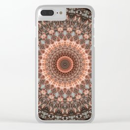 Detailed mandala in brown and peach tones Clear iPhone Case