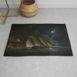 A Lugger And A Brig In Chase By Moonlight Off A Coast - Thomas Buttersworth Rug