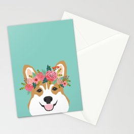 Corgi Portrait - dog with flower crown cute corgi dog art print Stationery Cards