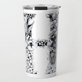 Floral Pen and Ink Letter H Travel Mug