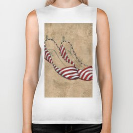 Red and white stripes Biker Tank