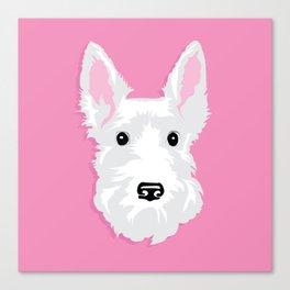 White Scottie Dog on Pink Background Canvas Print