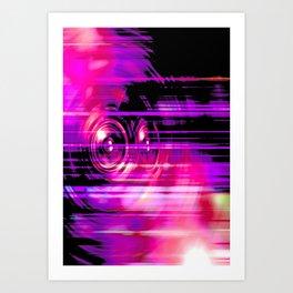 Purple music speakers Art Print