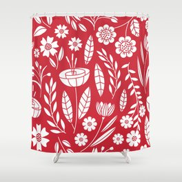 Blooming field - red Shower Curtain