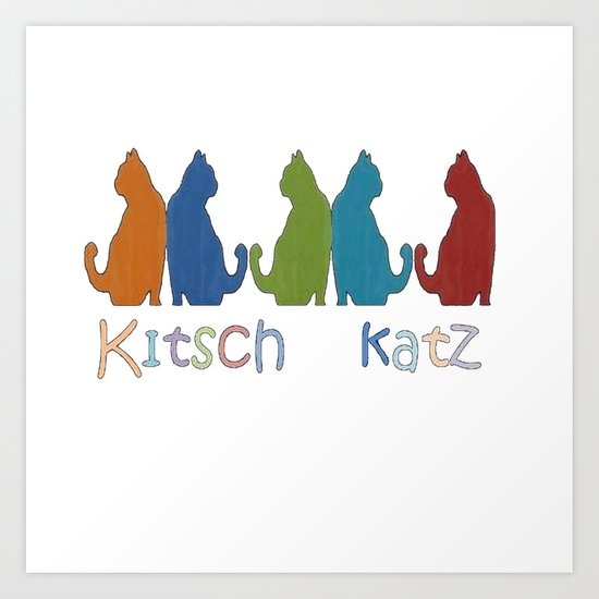 Kitsch Cats Silhouette Cat Collage Pattern Isolated  Art Print