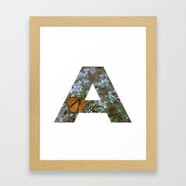"""""""A"""" Initial Butterfly Framed Art Print"""