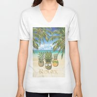 relax V-neck T-shirts featuring relax by ulas okuyucu